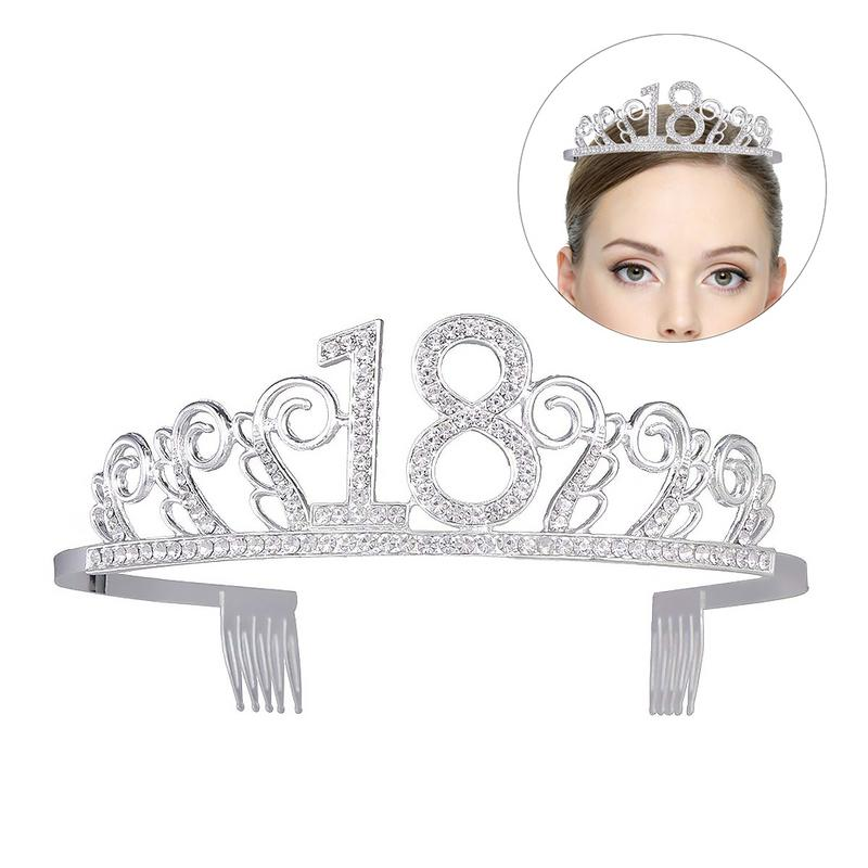 2019 New <font><b>Birthday</b></font> <font><b>Crown</b></font> Digital Hat Rhinestone Hair Accessories Bride Banquet Headband <font><b>18th</b></font> <font><b>Birthday</b></font> Tiara Rhinestone image