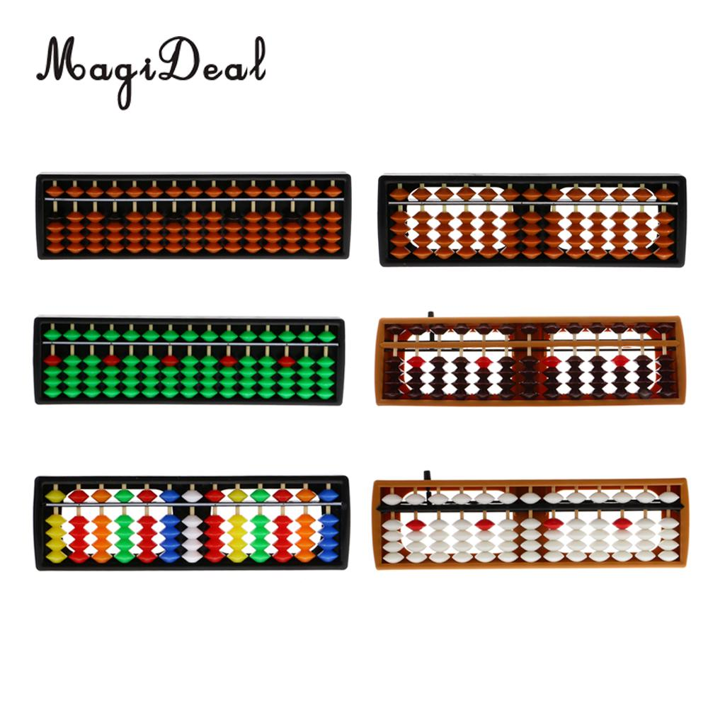 MagiDeal 13Rods Plastic Beads Abacus Soroban Calculating Tool Educational Math Toy For School Teacher Student Office Use 6Colors