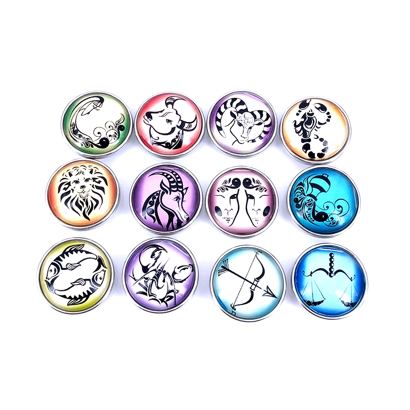 12pcs/lot 18mm 20mm Mixed 12 Constellation Sign Glass Cabochon Snaps Button for DIY Bracelet Necklace Zodiac Charm Jewelry N018 image
