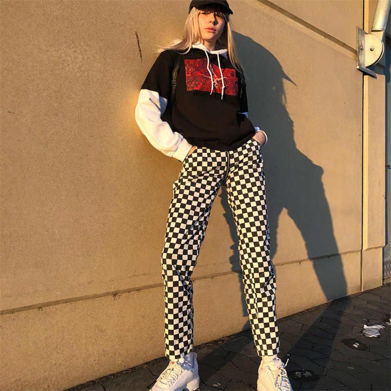 Frauen Sexy Öffnen Gabelung Hosen Plaid Zurück Zipper Hohe Taille Gerade Karierten Hose Schwarz Weiß Grid Streetwear Pantacourt