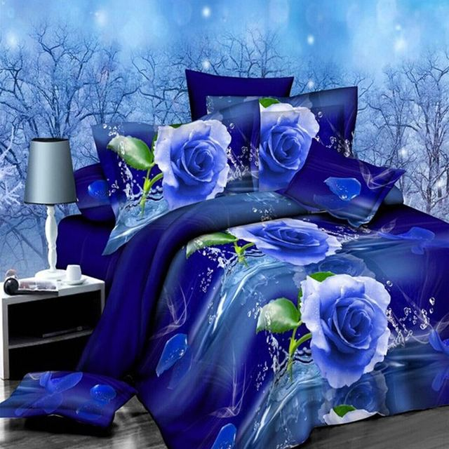 3D Blue Rose Wedding Bedding Sets Luxury 2/3/4 pcs Quilt Cover Set Bed Sheet Pillowcases Queen King Twin Size Cotton