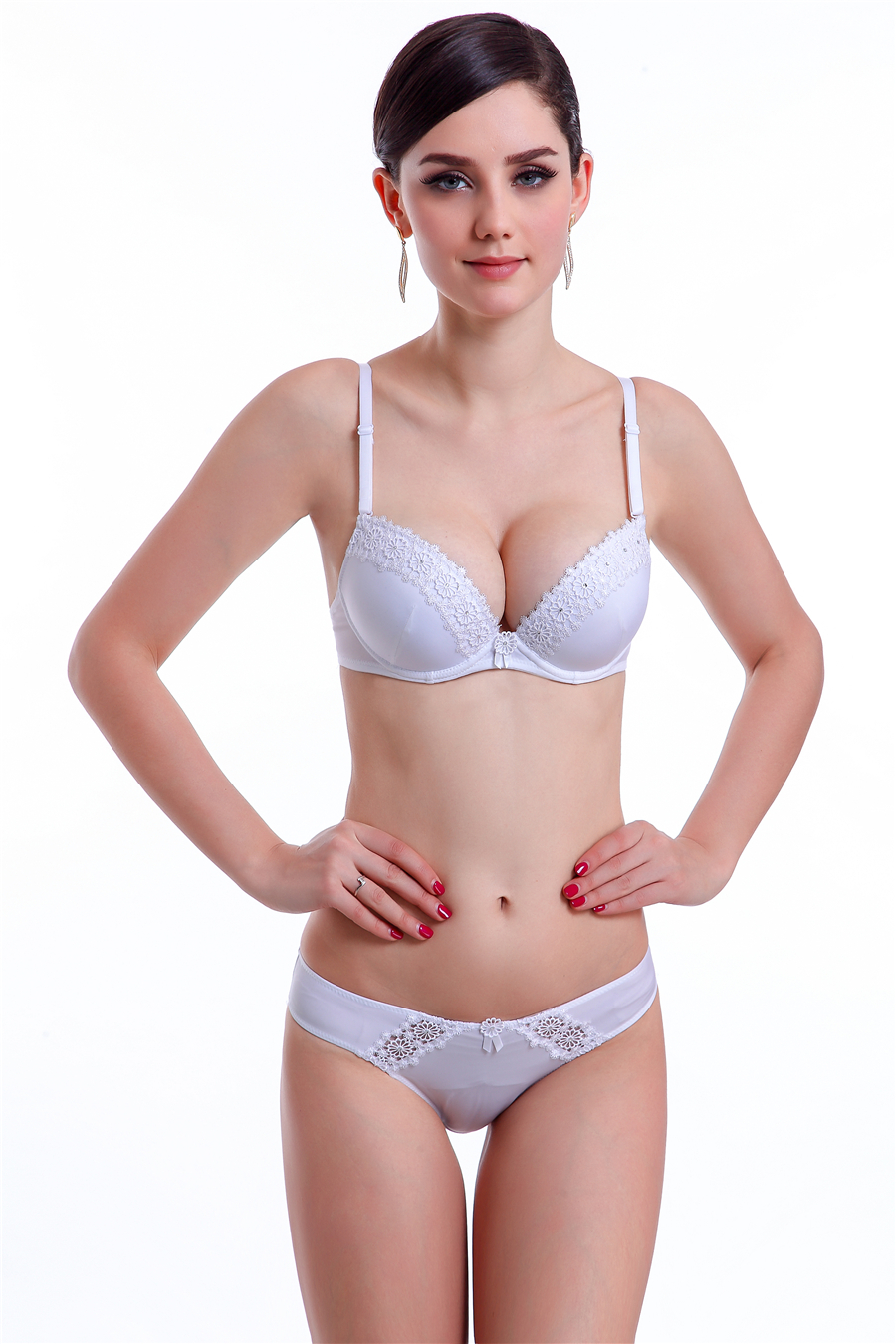 Hot Sale High Quality Bra Set Luxurious And Noble Deep V-neck Lace Bra Set Breasted Push Up Underwear Flower And Satins B  C cup zebra underwear
