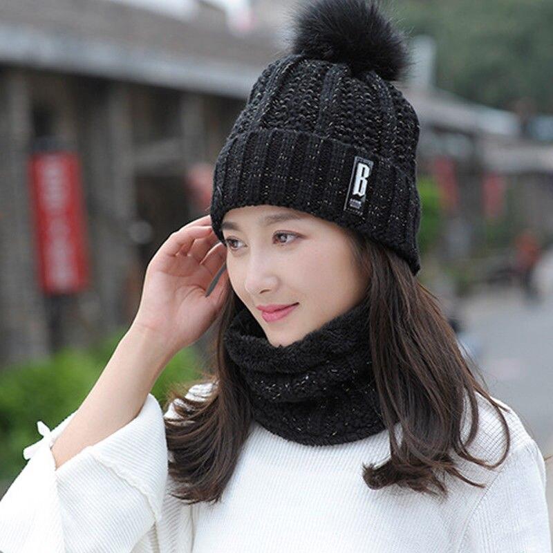 2 Stücke Schal Hut Set Frauen Damen Winter Warm Solide Pompoms Gestrickte Weiche Mützen Und Schals Schwarz Grau Rosa Rot