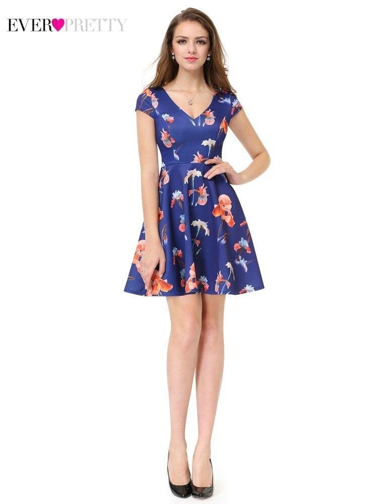 Floral Print Homecoming Kleider Immer Ziemlich Cap Sleeve V-ausschnitt Kleider Ap05457nb Sommer Strand Party Kleider Mezuniyet Elbiseleri Weddings & Events