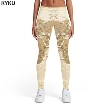 KYKU Brand World Map Leggings Women Geometric Printed pants Graffiti Sport Yellow Trousers Vintage Ladies Womens Pants