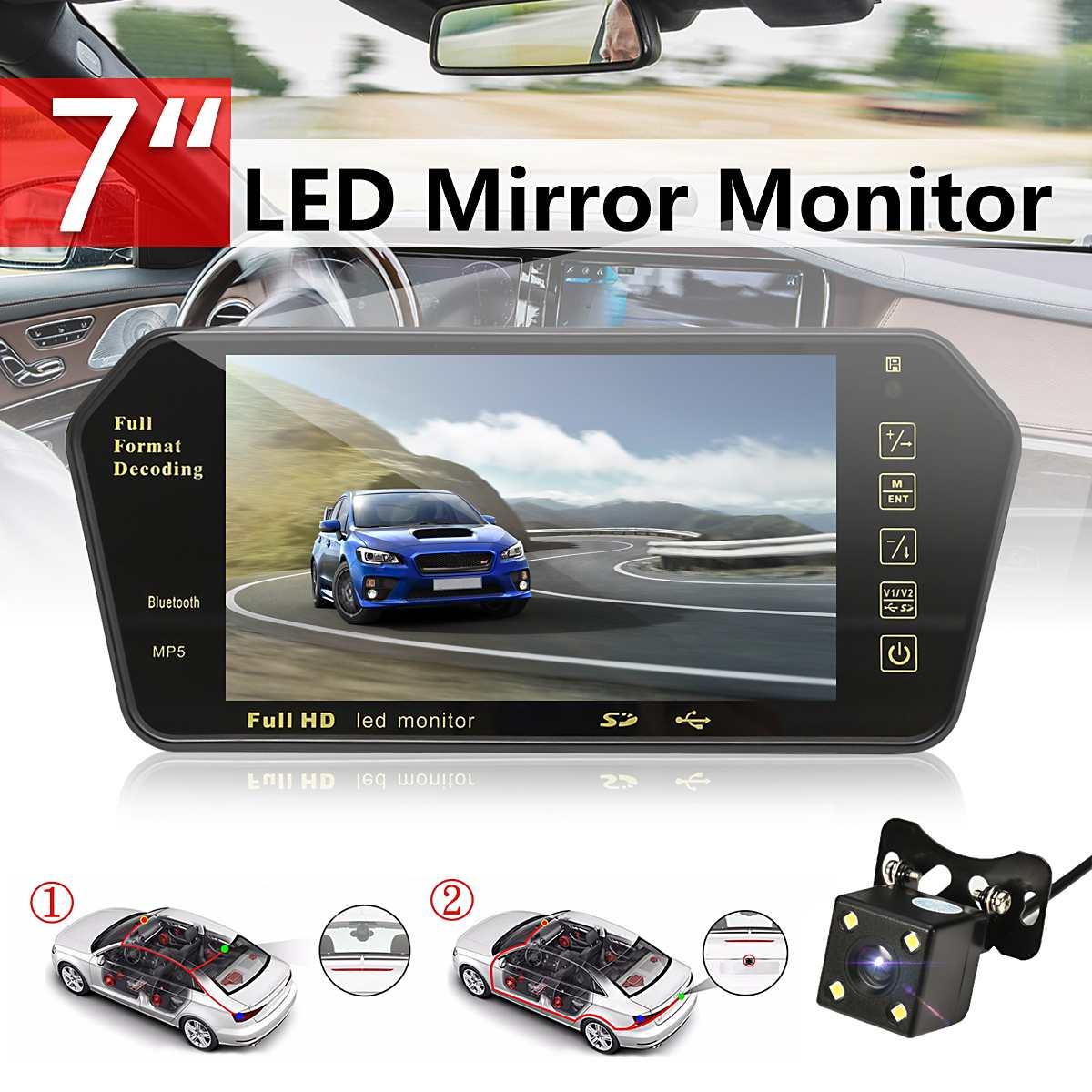 7 pouces bluetooth TFT LCD couleur miroir moniteur Viedo MP5 lecteur télécommande Auto voiture rétroviseur caméra de recul