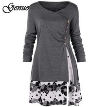 Plus Size 5XL Draped Floral Long Tunic Shirts Long Sleeve O-Neck Buttons Embellished Women Blouse Casual Autumn Tops Tee