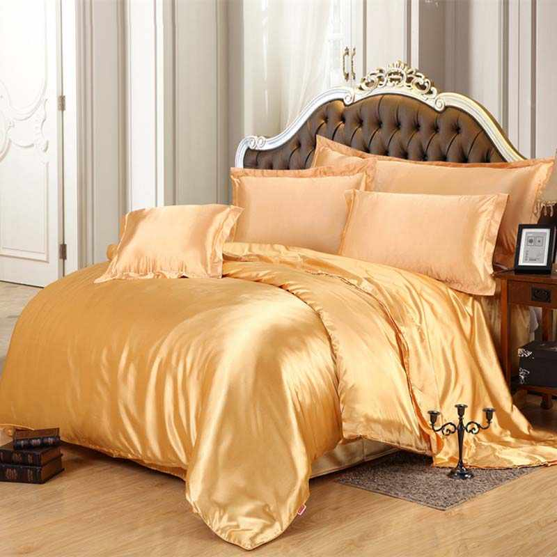 Luxury Satin Silk Bedding Sets Duvet Cover Flat Fitted Sheet Twin Full Queen King size 4pcs/6pcs linen set Black 100%golden 48