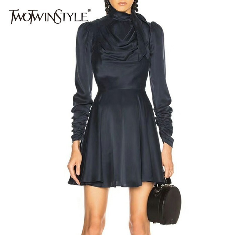 TWOTWINSTYLE Satin Dress Female Bownot Long Sleeve High Waist Mini Dresses For Women 2019 Spring Autumn Fashion Clothes