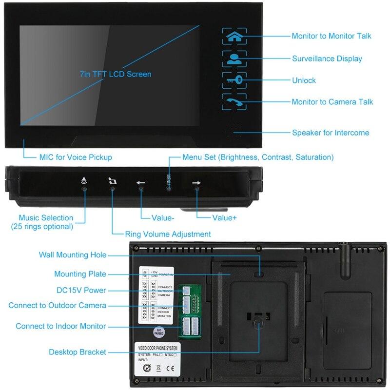 Clé de presse filaire 7 pouces vidéo porte téléphone interphone sonnette système Kit Vision nocturne 1 Rfid clavier Code Ir caméra + 1 moniteur - 5