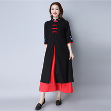 Spring Autumn Women Dress Ladies Vintage Style Fake Two Pieces Casual Floral Embroidery Mid-Calf Dresses Vestidos