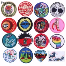 Prajna Various Round Fashion Hippie Patch Iron on Robot The Great Wave of Kanagawa Stickers 3D DIY Clothing Jeans Badge Fabric H