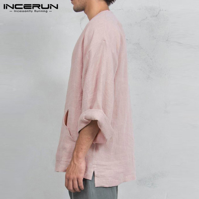 INCERUN Autumn Mens Long Sleeve T-Shirts Casual Loose Fit Deep V Neck Men Tee Tops Tunic Camisas Mens Clothing 3