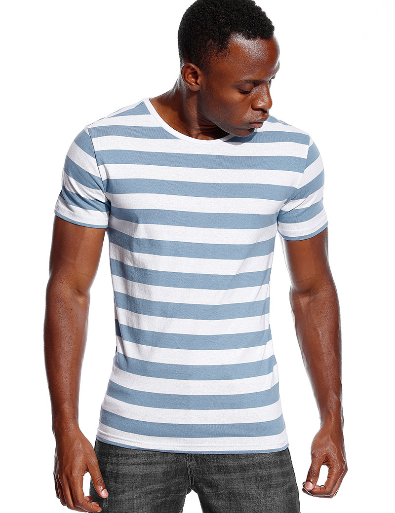 Striped T Shirt for Men Even Stripe Shirt Male Top Tees Black and White Blue Short Sleeve O Neck Cotton TShirts Unisex emblem