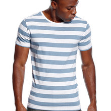 Striped T Shirt for Men Even Stripe Shirt Male Top Tees Blac