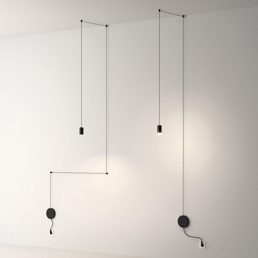 Nordic Geometric Lines LED Wall Lamp Black Living Bedroom Restaurant Lights Cafe Bar Decorate Luminaire Suspension Lighting in LED Indoor Wall Lamps from Lights Lighting
