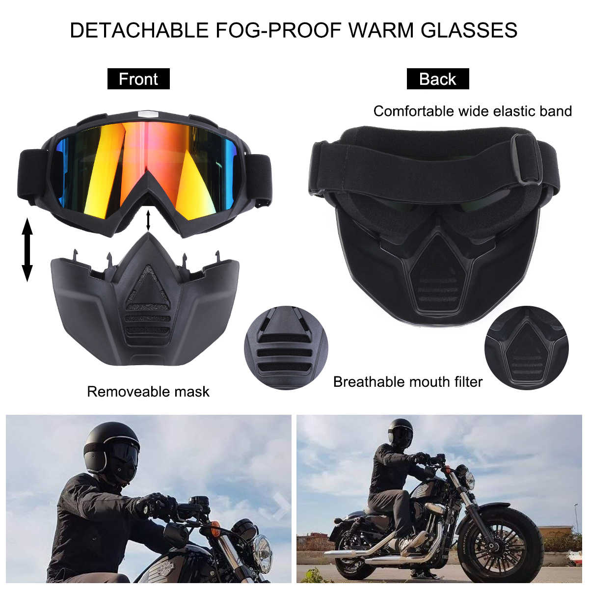 Motor Kacamata Wajah Penuh Masker Helm Kacamata Ski Snowboard Motorcross Sepeda Motor Motor Dilepas Kacamata