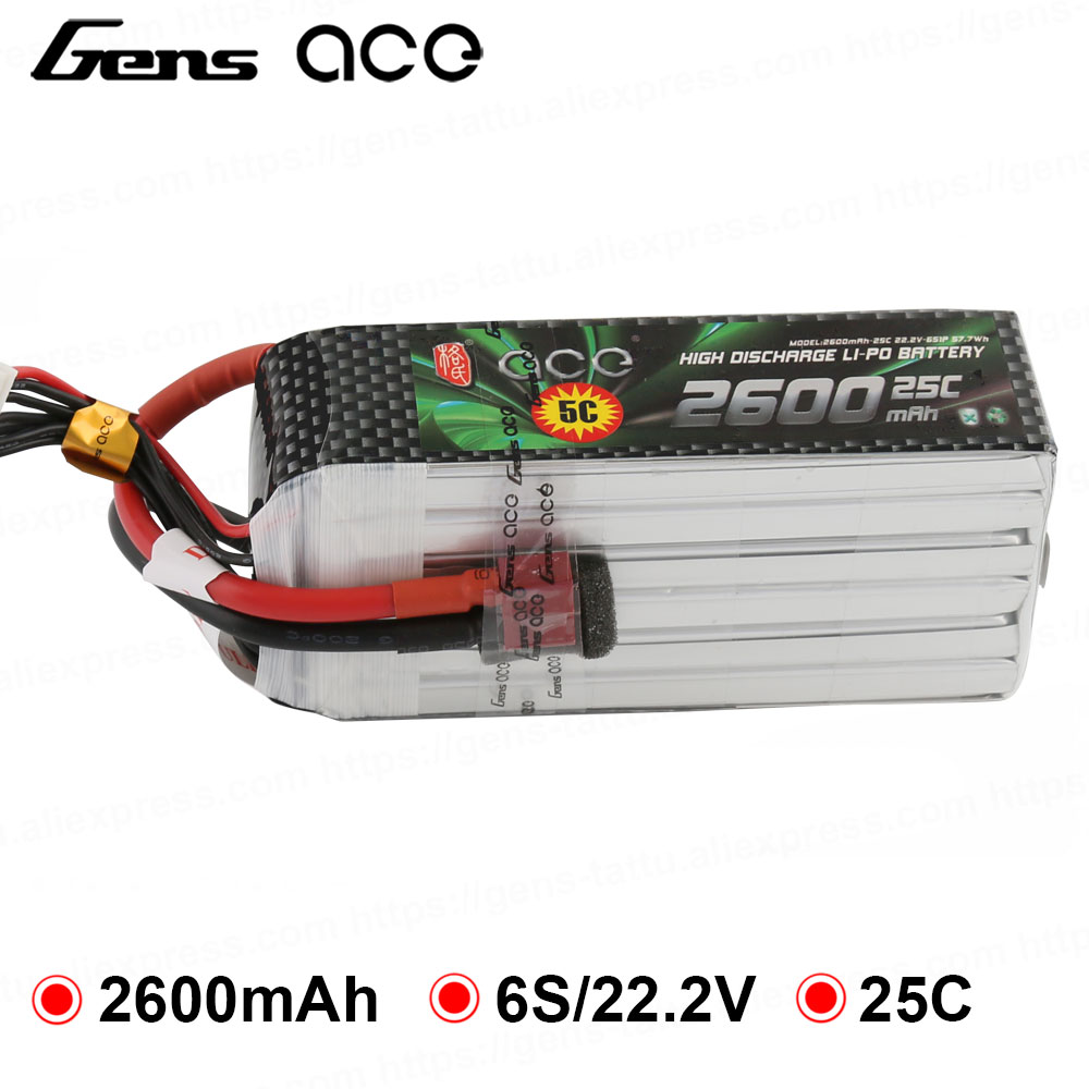 Gens ace Lipo Battery 22.2V 2600mAh Lipo 6S Battery Pack Deans Plug Battery for RC Car Helicopter FPV DroneGens ace Lipo Battery 22.2V 2600mAh Lipo 6S Battery Pack Deans Plug Battery for RC Car Helicopter FPV Drone