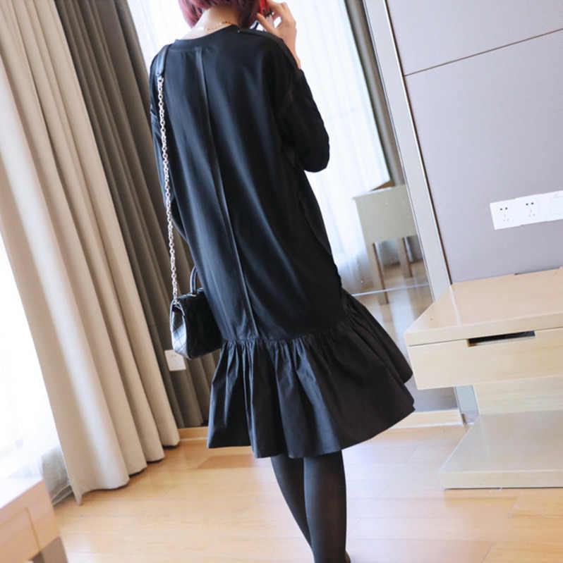 LANMREM/Новинка 2019 года; модное весеннее платье с рюшами в стиле пэчворк; женское платье с длинными рукавами; свободное Повседневное платье с круглым вырезом; Vestido; YF790