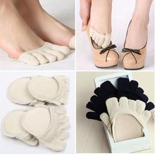 1 Pair Cotton Five Toes Socks Half Insoles Pads Cushion Fore