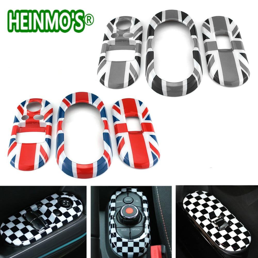 3 pièces F56 pour Mini Cooper accessoires fenêtre poussoir interrupteur panneau décoration couverture autocollant pour Mini Cooper F56 pour Mini F56