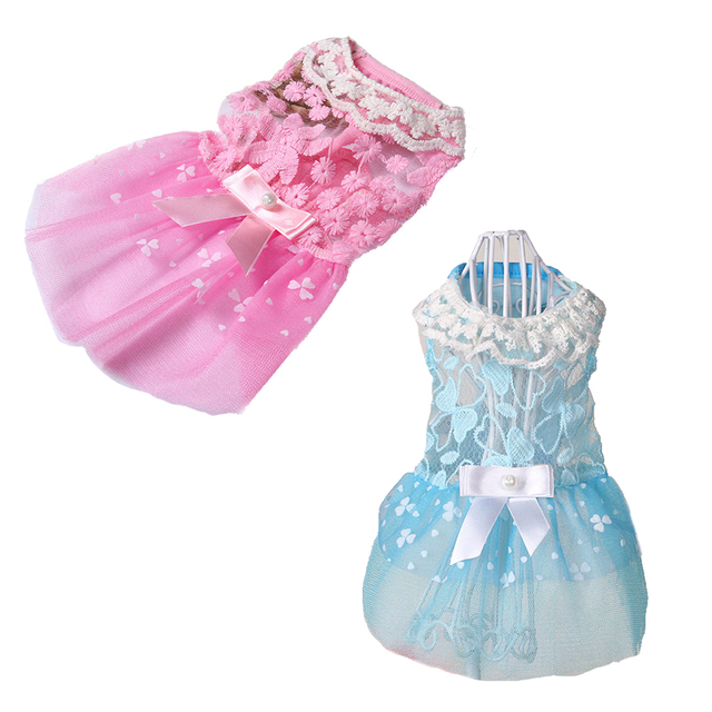 b045b0dcd6b09 US $3.14 30% OFF|2019 New 2 Colors Lovely Flower Lace Dog Princess Dress  Bow Puppy Cat Skirt Pet Wedding Clothes Supplies -in Dog Dresses from Home  & ...