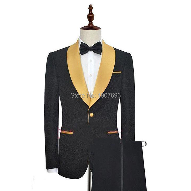 Black Pinstripe Man Suit for Wedding Tuxedos 2019 Gold Shawl Lapel Evening Prom Men Suits Two Piece Jacket Pants Man Blazer in Suits from Men 39 s Clothing