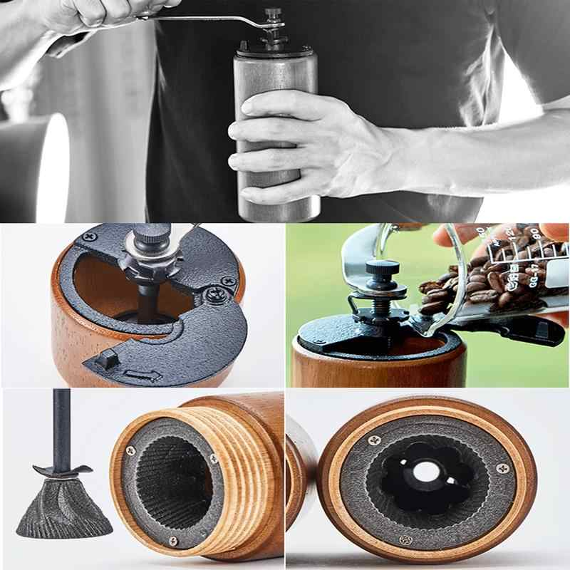 Molinillo de grano de café Manual de ahorro de mano de madera molinillo de grano de café con movimiento de molienda de hierro fundido