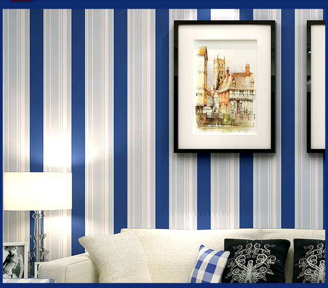 Wallpaper For Walls 3 D Dark Blue And White Stripe Wall Paper