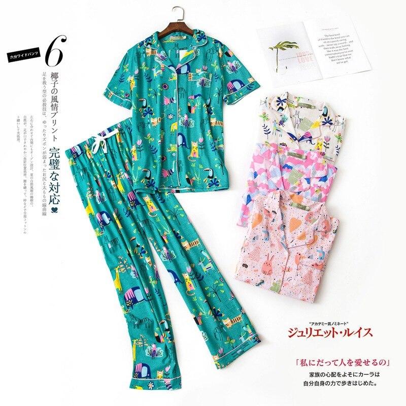 Shuchan Print Animal Pijama Sleepwear Two Piece Set Home Wear Elephant Cotton Women Cute Summer Pajamas Set Short Sleeve 1169