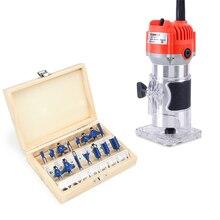 Электрический деревообрабатывающий фрезерный станок+ 15 шт 1/4 хвостовик фрезы Фрезы электроинструменты набор для резьбы по дереву долбежная Обрезка