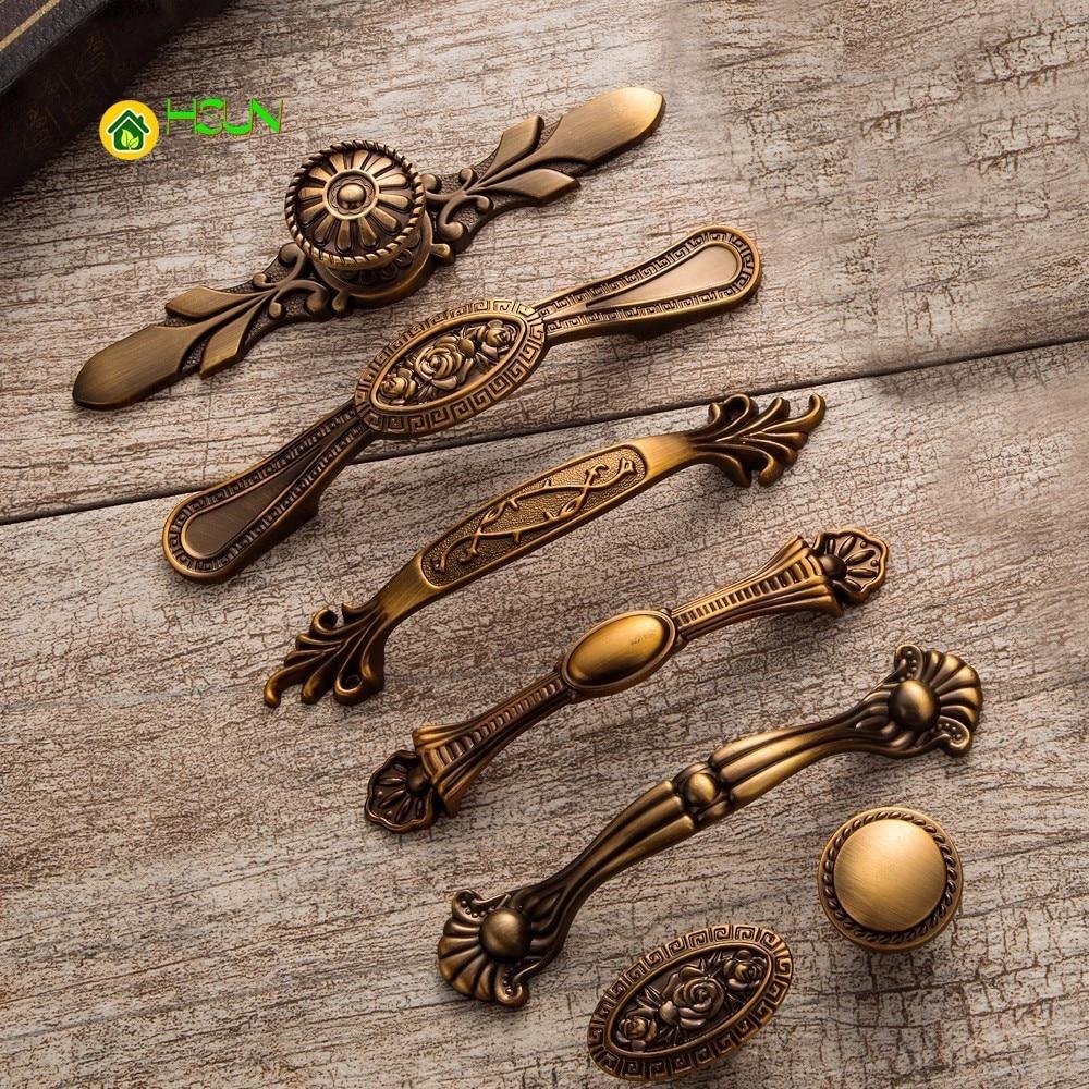 5pcs 20mm Bronze Vintage Antique Cabinet Door Kitchen: 2 PCS Yellow Bronze Door Handles Noble Antique Drawer