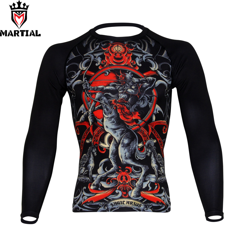 Martial : Wholesale Sagittarius Printed Rashguard Jiu Jitsu Boxing Jersey Gym T Shirt Men Boxing Clothes