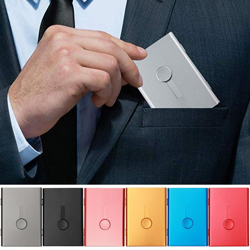 2019 New Business Card Holder Hand Push Card Case Bank Card Package Metal Ultra Thin Business Card Packaging Box Organizer