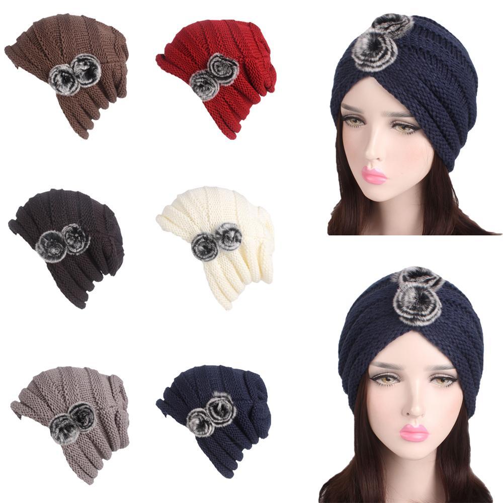 Women Cap Knitted Crochet Pile Cap Bonnet Cony Hair Ball Thick Warm Winter   Beanie   Hat Bonnet   Skullies     Beanies   Fashion Pleated