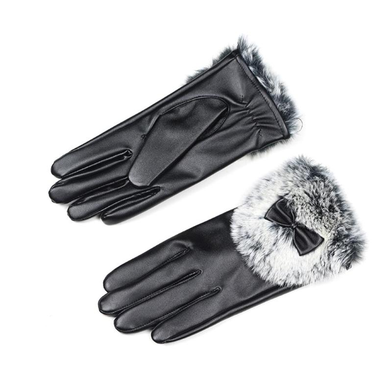 Fashion Winter Women Gloves Autumn Warm Butterfly PU Leather Faux Rabbit Fur Glove Full Finger Female Elegant Mittens Gloves
