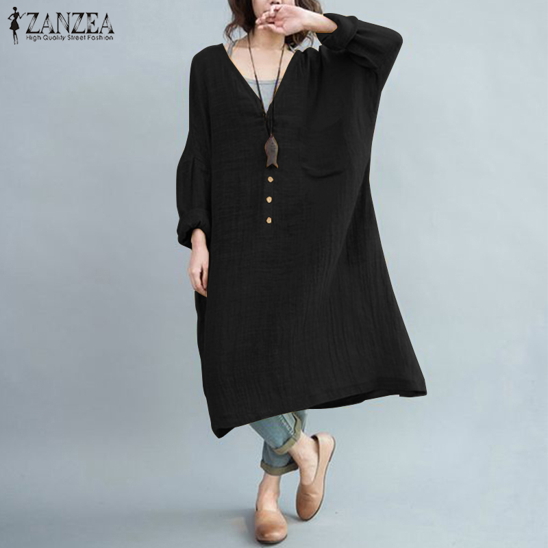 ZANZEA Plus Size Shirt Dress Women's Beach Sundress Female Button Down Long Vestidos Woman Party Midi Dresses Kaftan Casual Robe