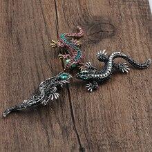 Fashion Lizard Brooch For Womens Shirt Cute Silver  Jewelry Metal Pin Set Enamel Rhinestone Gecko Wicca