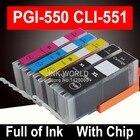 For Canon MX725 MG5650 MG6650 MG7550 Ink cartridge Cartridges PIxma printer 5 Color PGI550