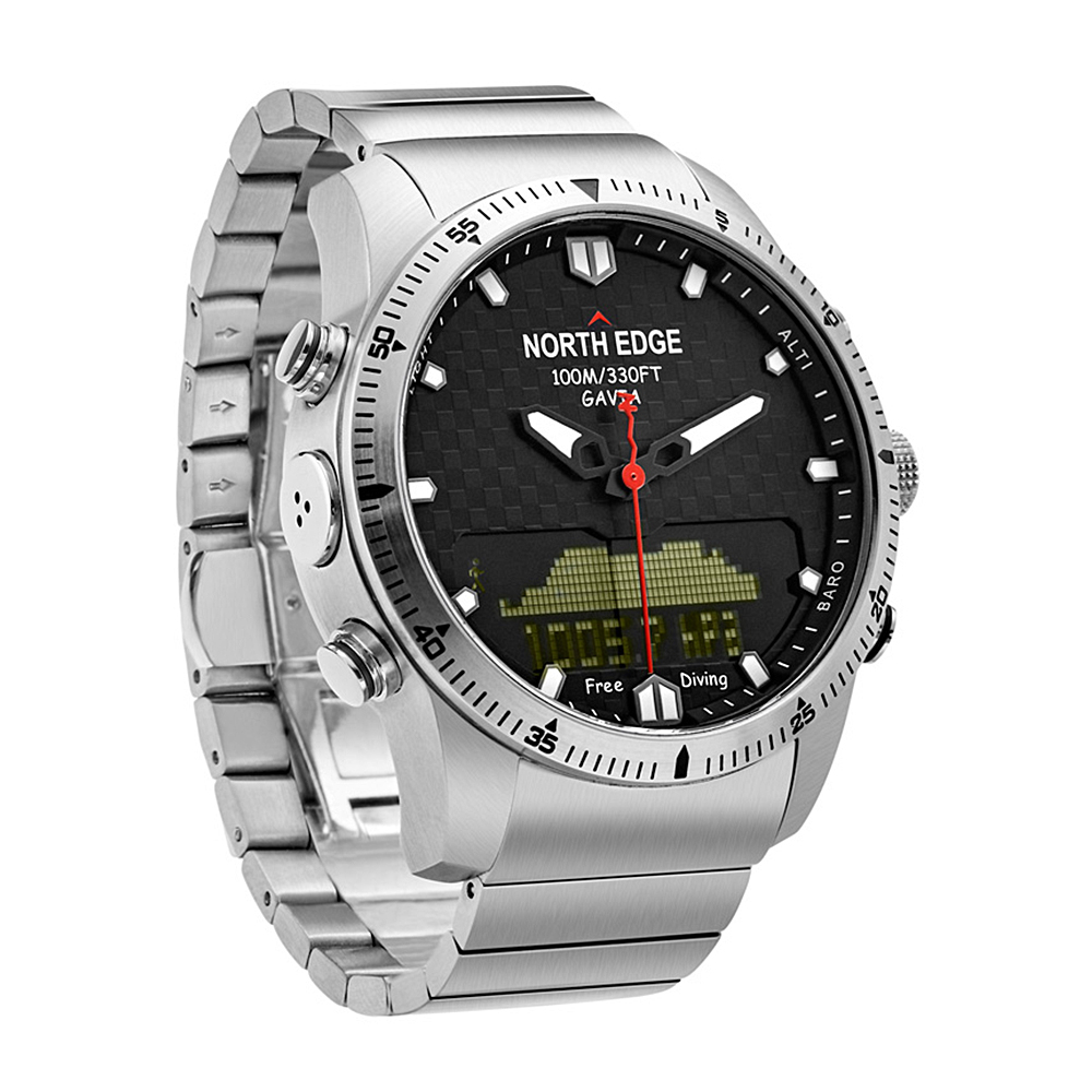 NORTH EDGE GAVIA Sports Digital Analog Watch Diving Watch Steel Business Wrist Watch Altimeter Compass 100m