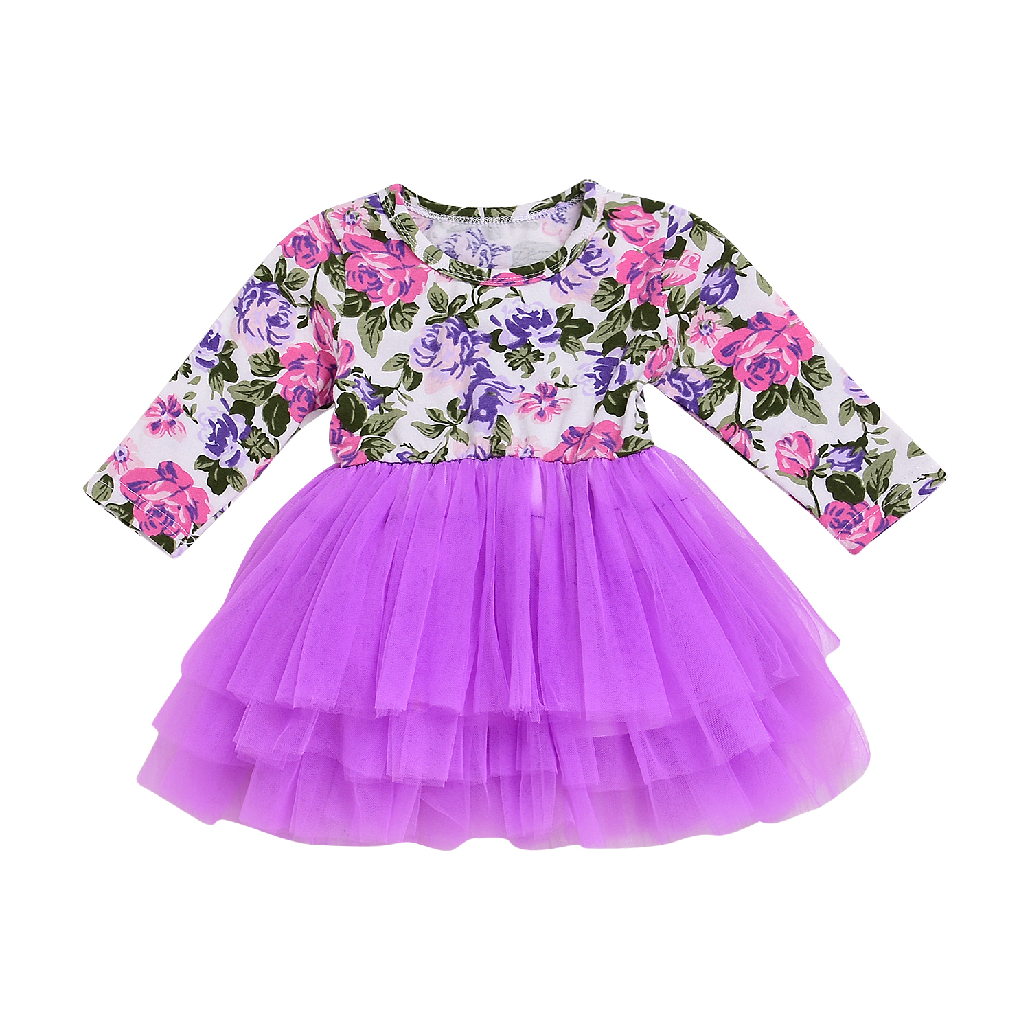 c321e61514aaf Newborn Baby Girl Long Sleeve Floral Party Princess Pageant Tulle ...