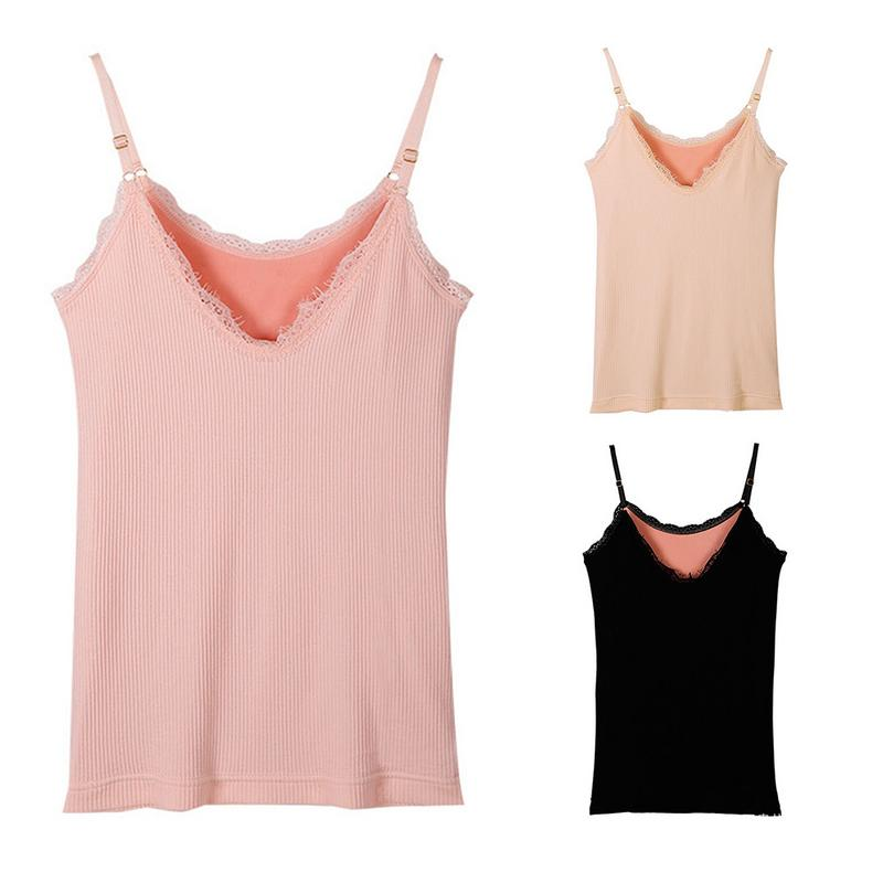 Ladies V-Neck Lace Camisole Vest Girl Fleece Lined Thickening High-Elastic Slim Thread Solid Color Simple Soft Sweet Warm Vest Price $11.16