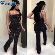 Summer Jumpsuits Sexy Women Sleeveless High Waist Lace Hollow Out Jumpsuit Solid Color Skinny Long