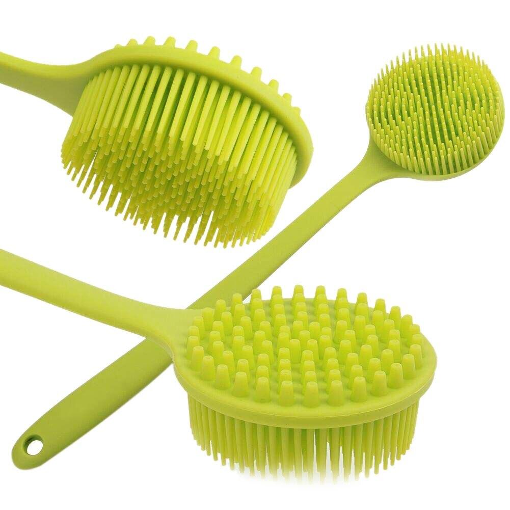 Hot Back Brush Silicone Body Brush Double Sided Brush Long Handle Anti-slip Shower Brush