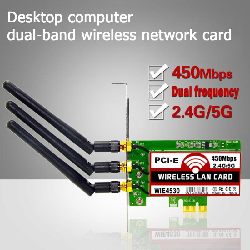 450Mbps 2.4G/5G WiFi Wireless LAN Card PCI-E X1  compatible with PCI-E X4/X8/X16 Network Adapter Card for Desktop for Intel CPU