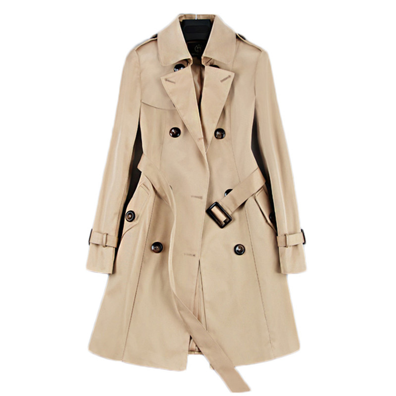 2019 Spring Autumn New Women Classic Double Breasted Mid-long   Trench   Coat Female Slim Street Windbreaker Business Outerwear