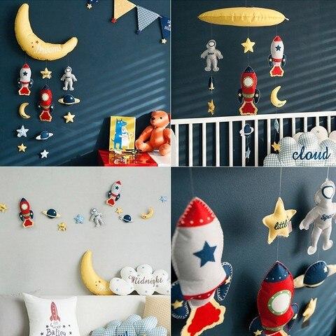 estrela lua foguete diy cama bell brinquedos mae brinquedo do bebe artesanal girando chocalhos berco