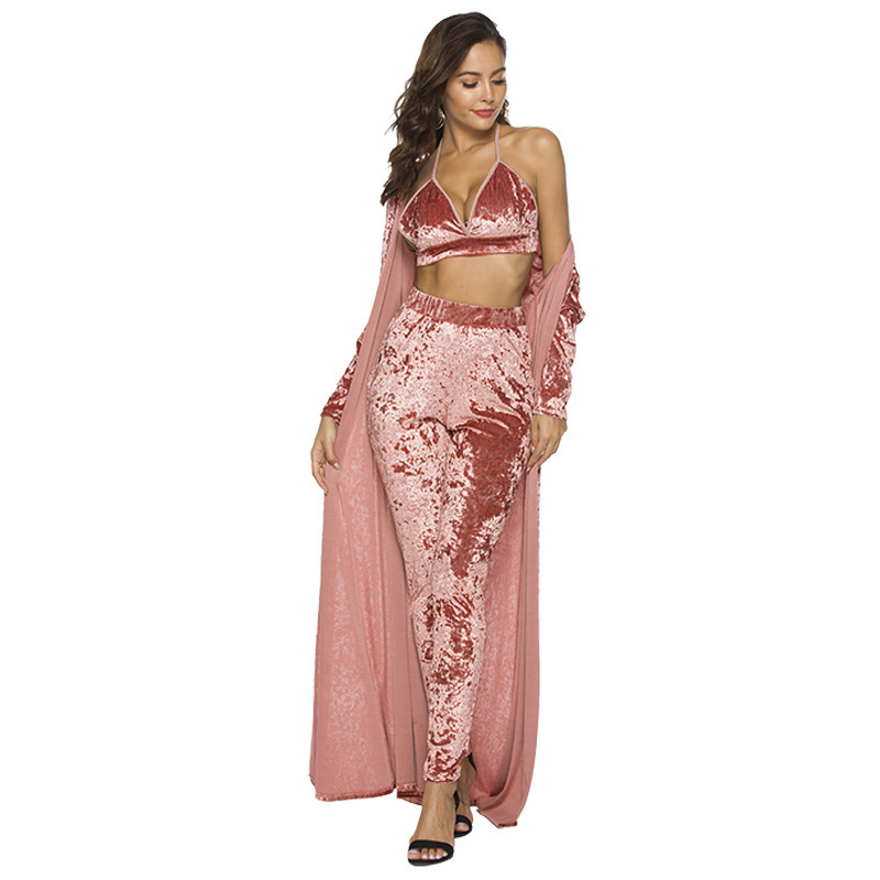 VITIANA Women Three Pieces Long Sets Female Velet Maxi Long Trench Cardigan Halter Bra Tops Full Length Pants Long Trousers