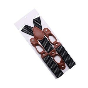 35mm Width Suspenders For Men Brown Leather Trimmed Button End Elastic Tuxedo Y Back Men Fashion Suspenders Pant Braces Dad Gift