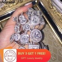 Choucong, 50 стилей, кольцо, Настоящее 925 пробы, серебро, AAAAA cz, обручальное кольцо, кольца для женщин, вечерние ювелирные изделия